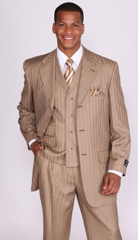 1940s mens zoot suit in tan striped. Mens Tan Stripe Lapel Vested Church Suits discount mens clothes for sale $139.00 AT vintagedancer.com