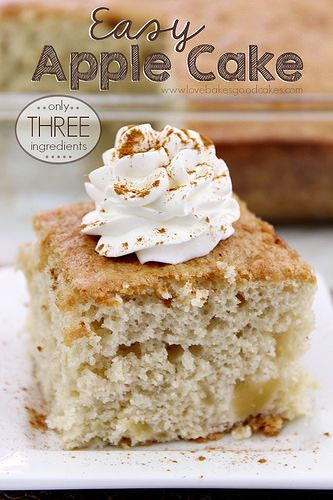 With only 3 ingredients, this Easy Apple Cake is perfect for Fall Baking! #apples #fallbaking