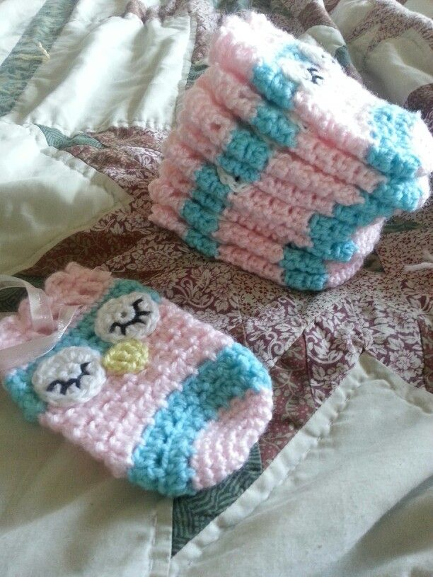 Crochet Owl Favor Bags - Baby Shower