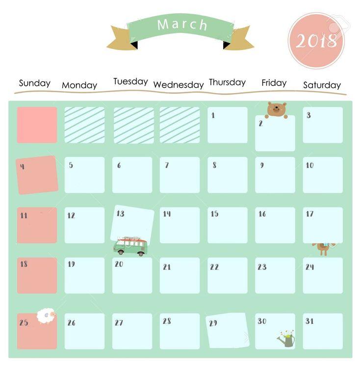 Free Cute March 2018 Calendar