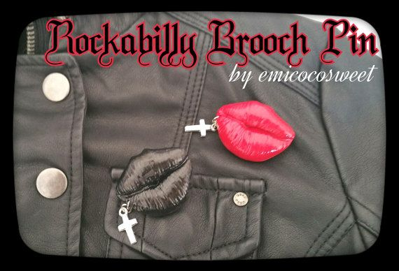 SALE Red Lip Cross Pin Brooch Kitsch jewellery by emicocosweet