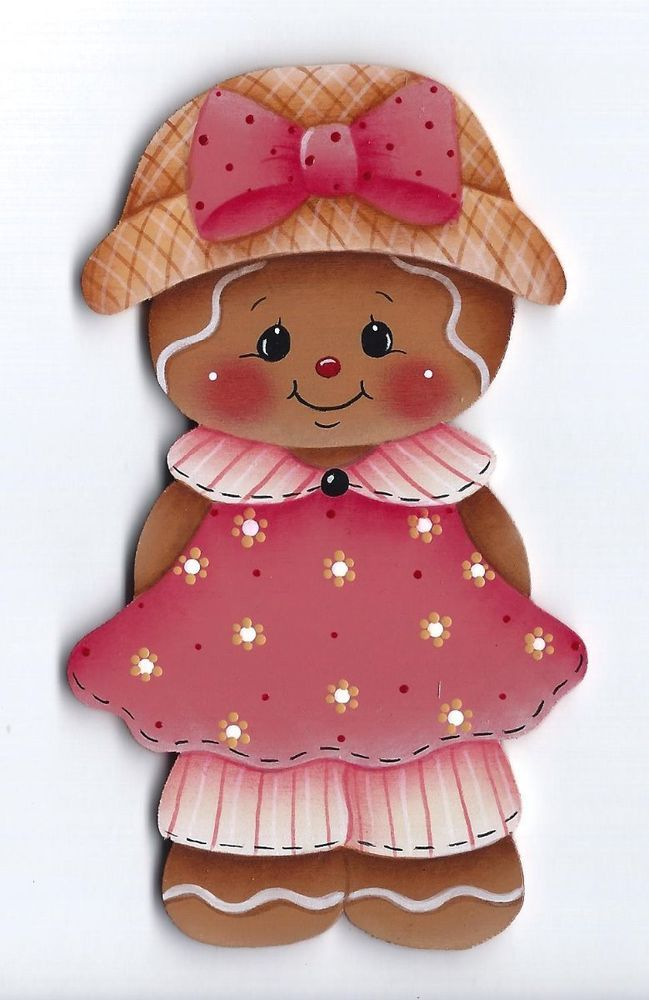 HP GINGERBREAD Girl FRIDGE MAGNET  Handpainted by stonehouse28