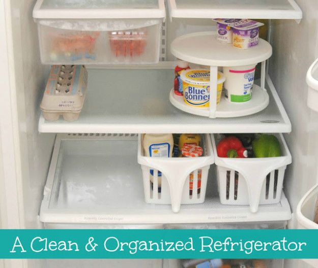 Stock your fridge with bins, baskets, and maybe a lazy Susan or two. | 42 Brilliant Ideas To Make Your Home Really Freaking Organized