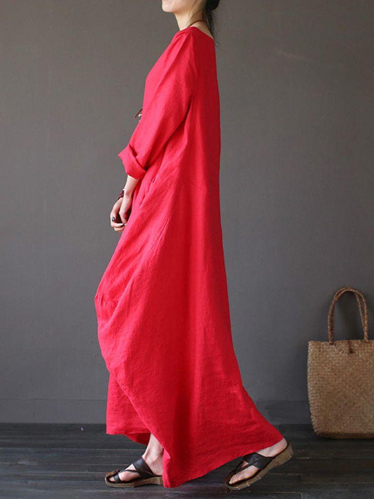 Women Casual Loose Pure Color Baggy 3/4 Sleeve Maxi Dresses at Banggood