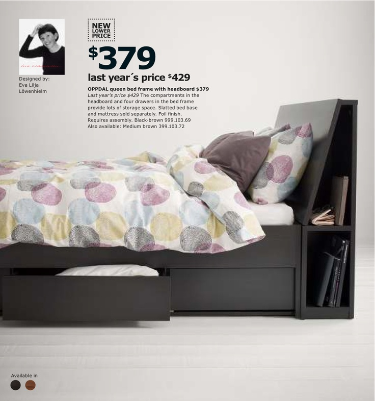 oppdal bed frame with drawers blackbrown ikea