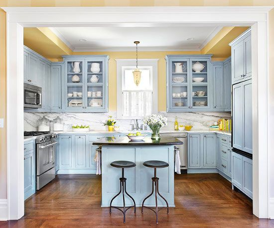better homes and garden yellow kitchen w white cabs