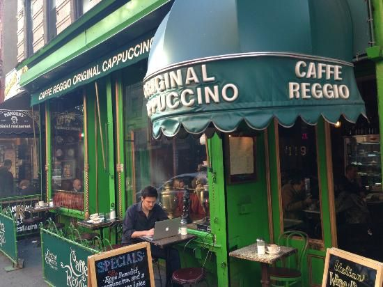 Cafe Reggio  119 Macdougal st ( 3rd and Bleeker st)  First cappuccino in NY