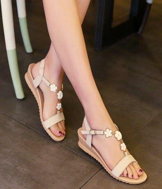 bohemia ankle strap wedge high heel sandals