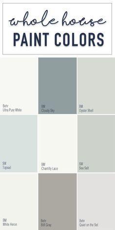 Paint colors for a whole home color palette with calming neutral paint colors fr... interior paint
