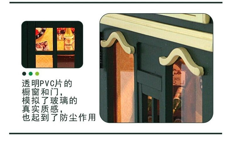 Европейский небольшой бар, С лампой дома, Кукольный миниатюрный, Поделки ручной работы хижина комплекткупить в магазине Fashion Shop 7наAliExpress