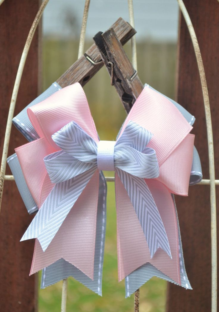 Horse Show Bows- Light Pink, Gray, Silver Chevron Equestrian Hair Bows (2) by OnTheBitBows on Etsy https://www.etsy.com/listing/209225400/horse-show-bows-light-pink-gray-silver