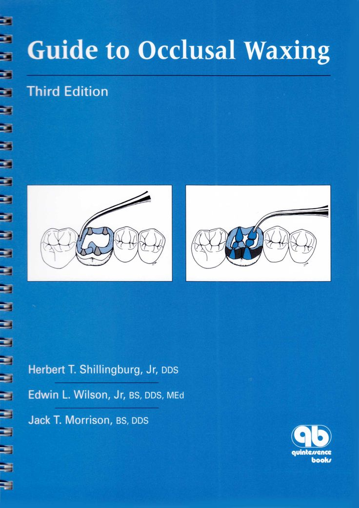 Title: Guide to Occlusal Waxing Author: Hertbert T. Shillinburg Publisher: Quintessence Publishing ISBN: 0-86715-385-7 Year: 2000 http://www.quintpub.com/display_detail.php3?psku=B3857#.Una2E5E6JFw