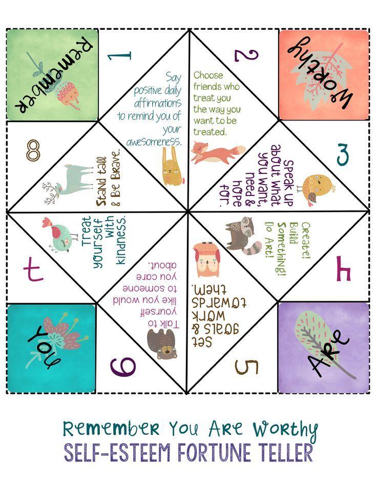 Self-Esteem Fortune Teller. Fun School Counseling Lesson on building self esteem