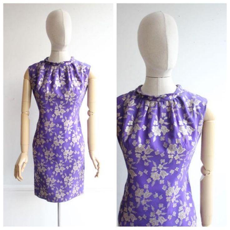 """Gabrina"" Vintage 1960's Purple & Gold Silk Cocktail Dress UK 10"