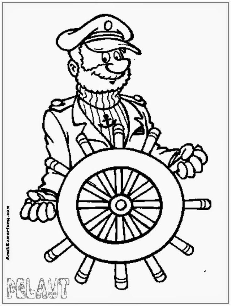 mewarnai  gambar  profesi pelaut mewarnai  Pinterest