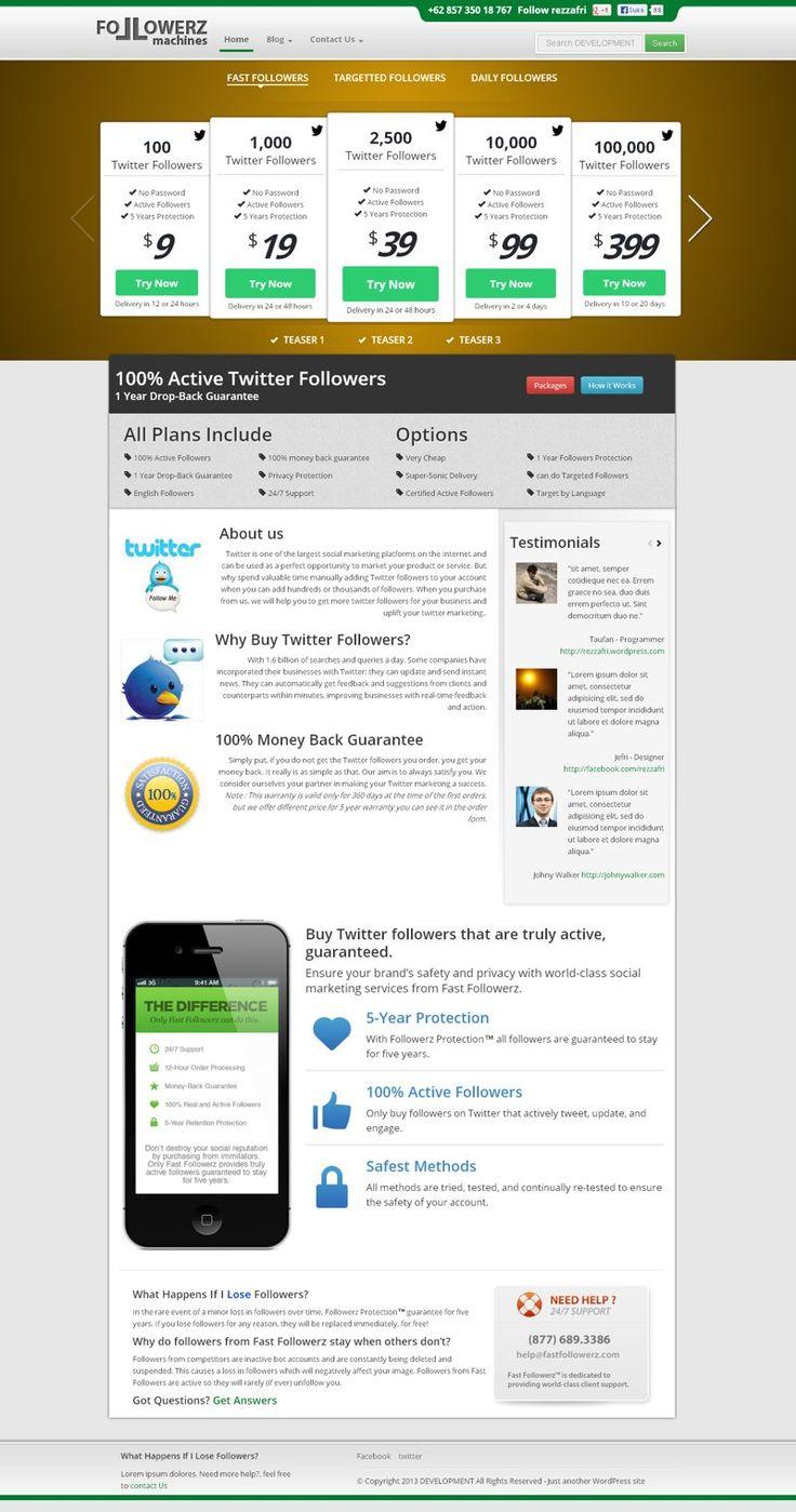 salah satu proyek PSD to Wordpress - Followerz