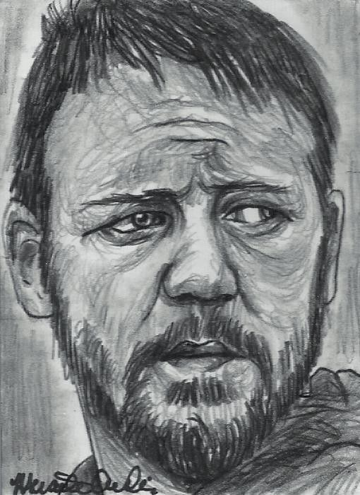 ACEO GlADIATOR ACTOR RUSSELL CROWE Original Sketch Card by MIRACLE