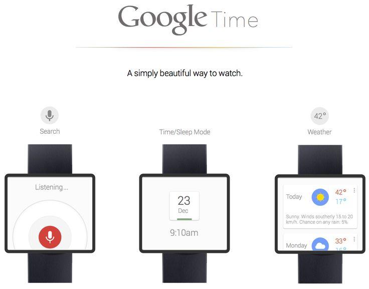 концепт Google Time - гугловского ответа  iWatch