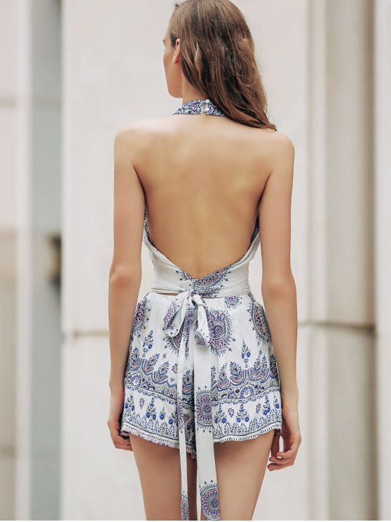 Backless Cut Out Stand Neck Tank Top and Floral Print High Waist Shorts Twinset - WHITE M Mobile