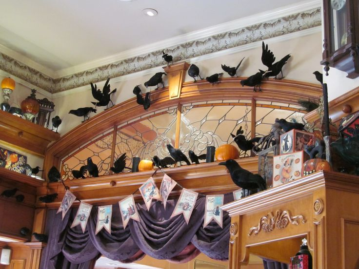 lots of ravens over the doorway in a shop on main street at disneyland theres