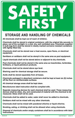 Safety First Storage And Handling Of Chemicals Swimming Pool Sign 12