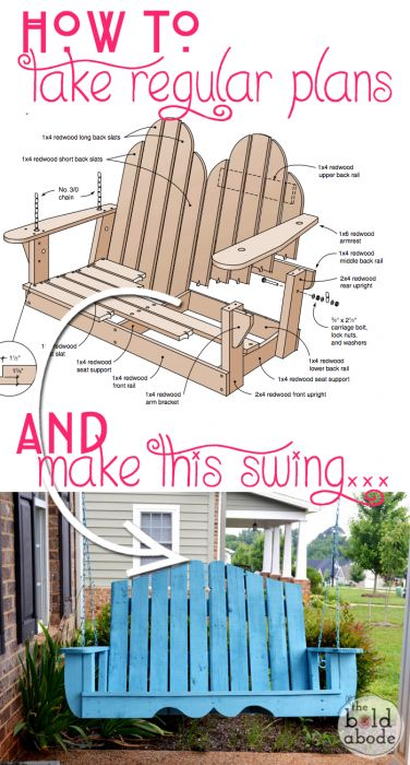 DIY your own $800 porch swing for a FRACTION of the cost! How to Alter Regular Porch Swing Plans for a Unique Porch Swing with theboldabode.com