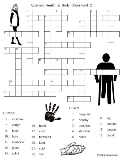 new printable spanish freebie of the day spanish health and body crossword 2 from. Black Bedroom Furniture Sets. Home Design Ideas