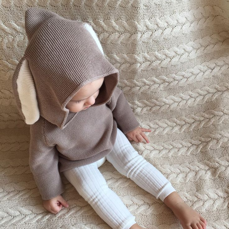 Baby Boys Girls Sweaters Cute 3D Rabbit Ear Pullover Kids Girls Knitted Sweaters Coat Jacket for 1-5Y Children Clothes