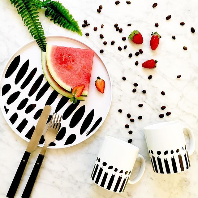 """Summer fruits & coffee for two to start the day. Bzyoo """"Soar"""" platter & """"Soar"""" Mugs from the 16 piece set.  #summer #fruit #coffee #two #morning #blackandwhite #black #white #design #dinnerware #decor #home #homedecor #homewares #love #inspiration #cool #dinnerware  #food #foodporn #living #bzyoo"""
