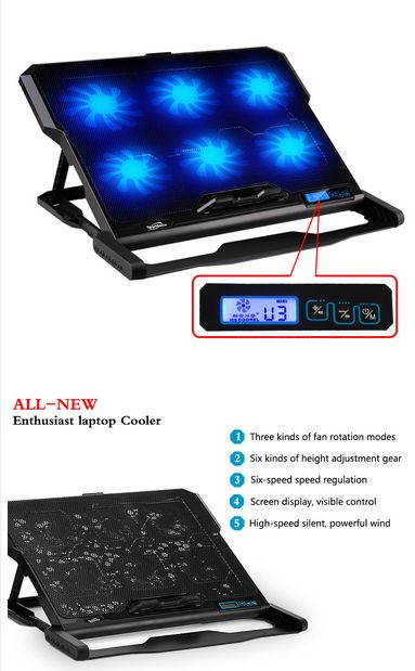 """Laptop cooler 2 USB Ports and Six cooling Fan laptop cooling pad Notebook stand For 14.6""""-16"""" fixture for laptop"""