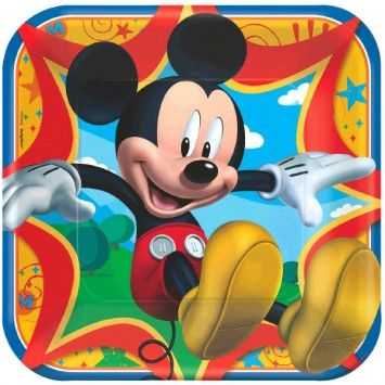 """Disney Mickey Mouse 9"""" Square Plates"""