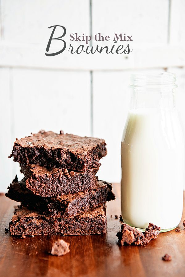 Skip the mix and try this easy brownie recipe for the most perfect chocolate fudge brownies around. Better than the boxed brownie mix, but just as easy!