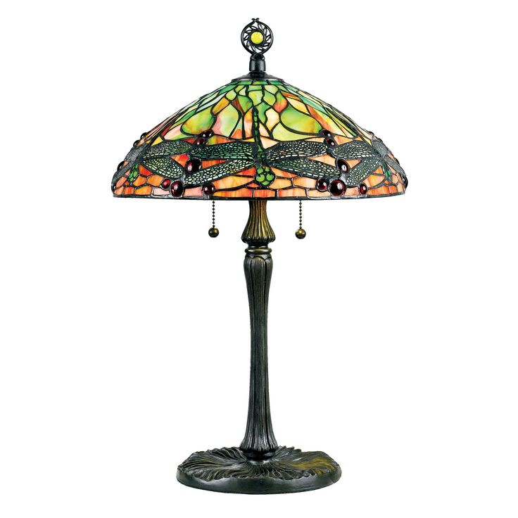 Quoizel Green Dragonfly with Vintage Bronze Finish Tiffany-style Table Lamp