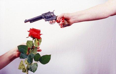 Gun and Rose Wallpaper