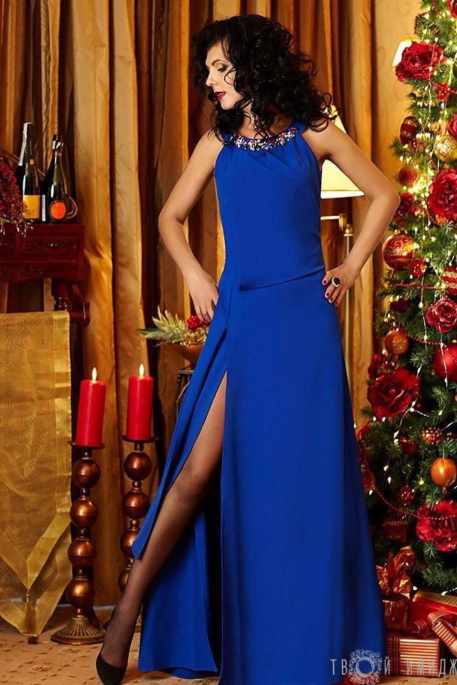 Синие длинное платье с высоким разрезом на торжество