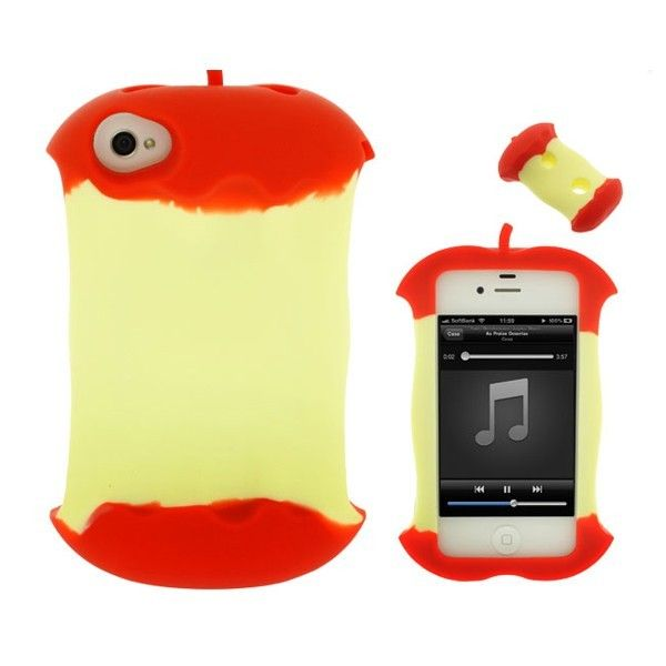 Protective Apple Core Shape Silica Gel Case Cover for iPhone 4/4S