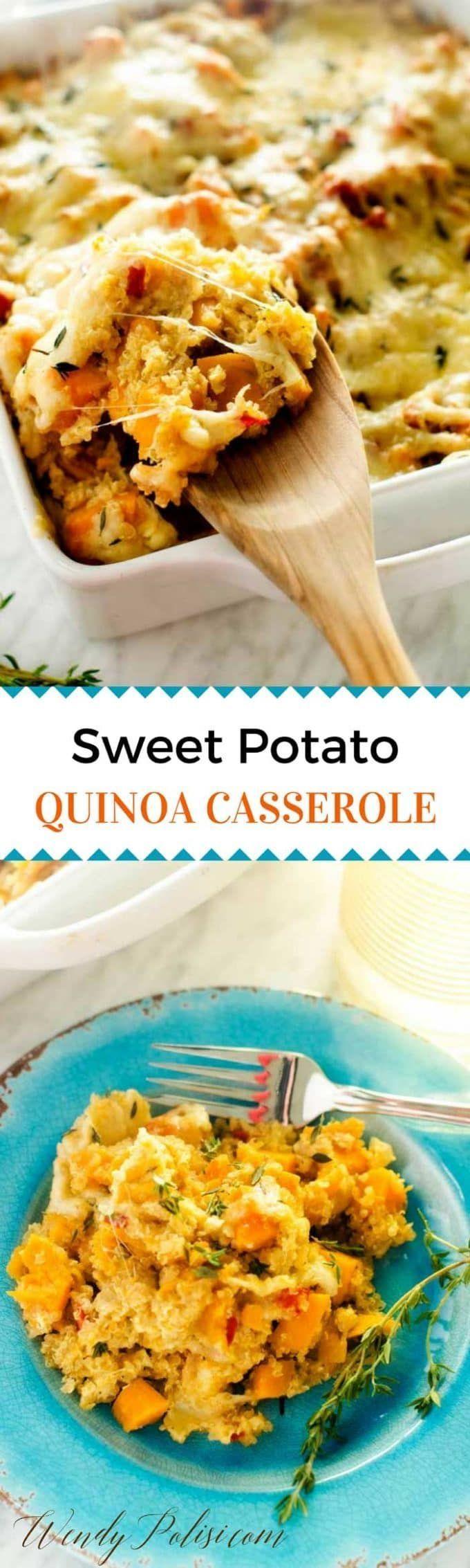 Sweet Potato Quinoa Casserole - This Sweet Potato Quinoa Casserole is the perfect one dish meal!  Gluten Free, Vegetarian, Vegan Option #BrightBites via @wendypolisi