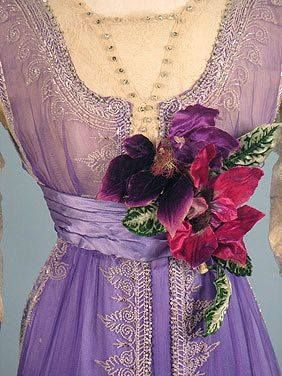 Beaded Purple Evening Gown, circa 1912.