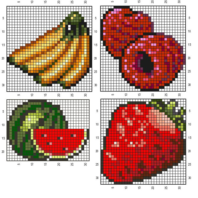 cross stitch pattern banana watermelon raspberry strawberry