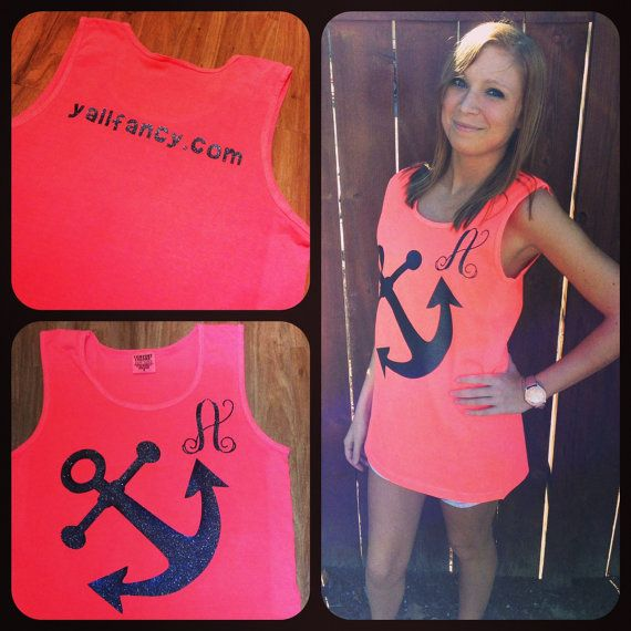 Tilted Anchor Y All Fancy Comfort Colors Monogrammed Tank