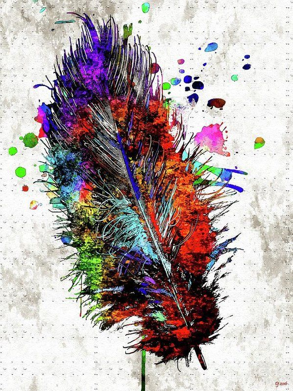 Feather Grunge Print featuring the mixed media Feather Grunge by Daniel Janda