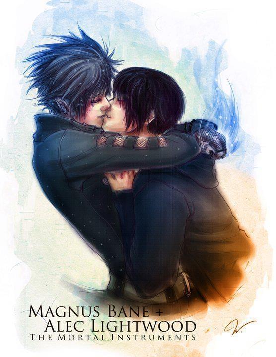Magnus + Alec    #Alec Lightwood, The Mortal Instruments, Cassandra Clare, Book, Malec, Cities Of Bones, Infernal Devices, Magnus Bane, Fans Art
