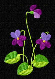 4-Hobby.com - Machine Embroidery Designs :: Flowers :: Violets 14 Machine Embroidery Designs set 5x7