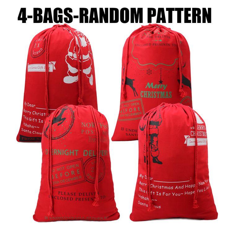 Hoople Christmas Bag for Kids Christmas Gift Basket Christmas Tote Bag Santa Sack Burlap Bags