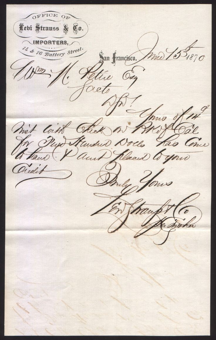 1870 Levi Strauss & Company Letter