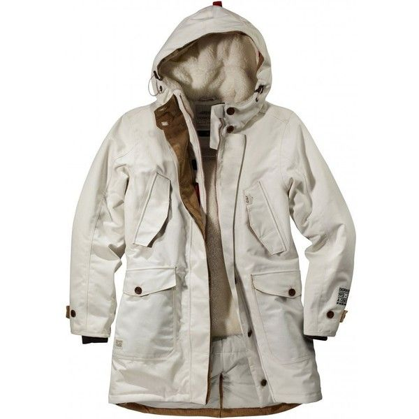 Didriksons Gaso Ladies Parka (900 BRL) ❤ liked on Polyvore featuring outerwear, coats, white parka, white coat, white parka coat and parka coats