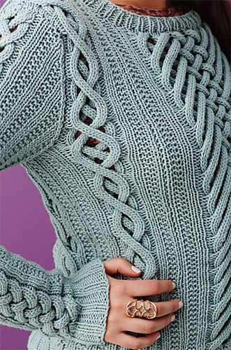 Pretty. . . . but - tell me again why I would want holes in my sweater?  Ravelry: #08 Fretwork Pullover pattern by Shiri Mor