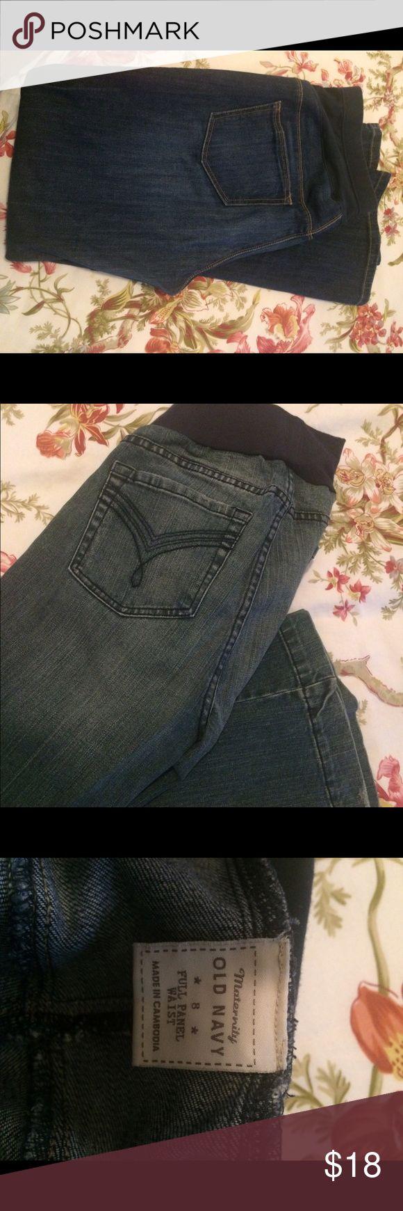 "Old Navy Maternity Jeans My favorite maternity jeans!  Boot cut, dark wash, 31"" inseam maternity jeans from Old Navy. Old Navy Jeans Boot Cut"