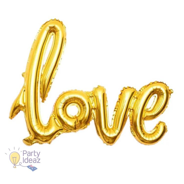 Our Gold Love Balloon with its handwritten design would make a fabulous Golden 50th Wedding Anniversary Decoration, Engagement Balloon, Valentines Day balloon and would also work for many more Celebrations which could use a little more Love.