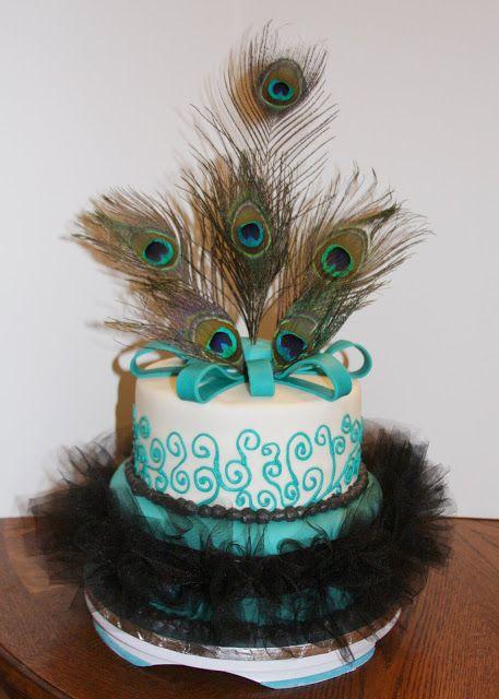 Peacock Cake | Carla's Cakes: Peacock Feather Wedding Cake & Camo Grooms Cake